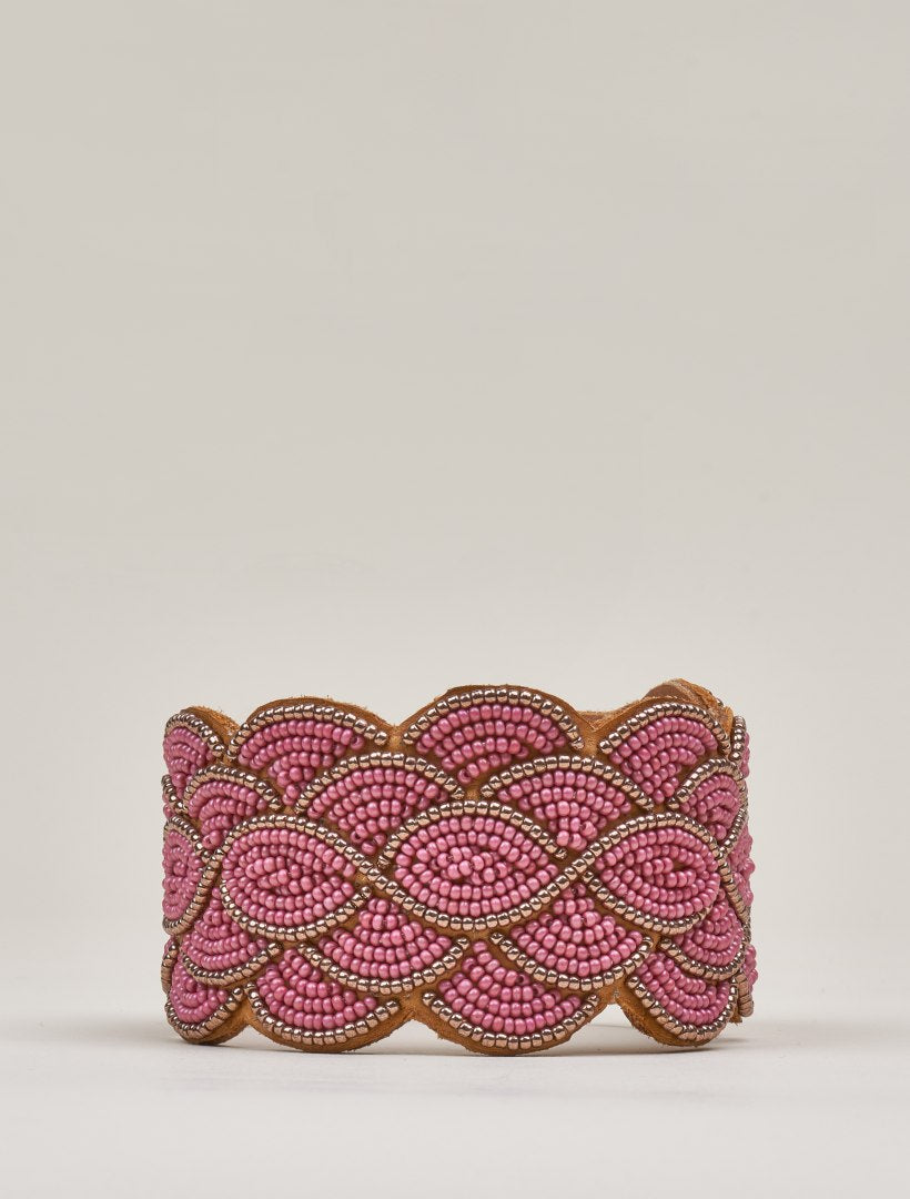 Wave Leather Beaded Cuff Bracelet Coffee Red