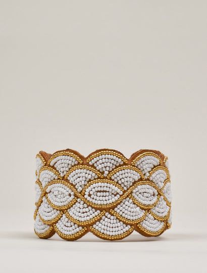 Wave Leather Beaded Cuff Bracelet Gold White