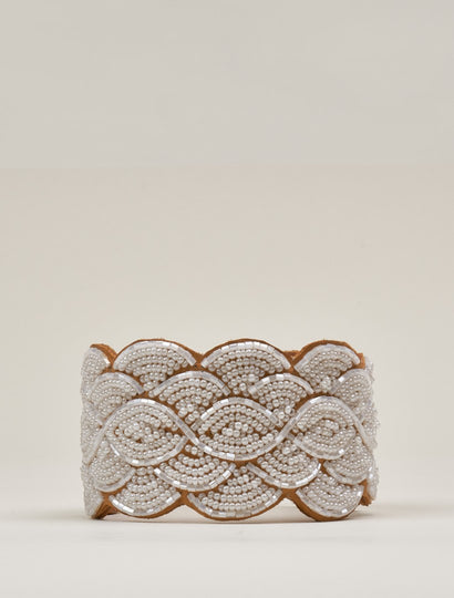 Wave Leather Beaded Cuff Bracelet Snow White