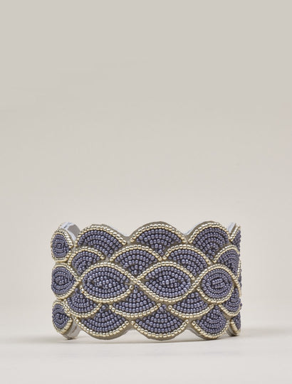 Wave Tan Leather Beaded Cuff Bracelet Silver Grey