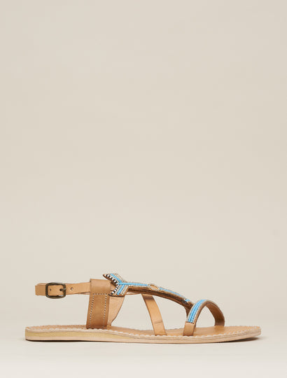 West Flat Leather Sandal Turquoise