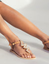 Ziggy Flat Back Strap Leather Sandal Silver