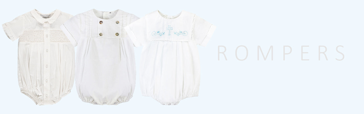 Little Boys Christening Special Occasion Baptism Rompers