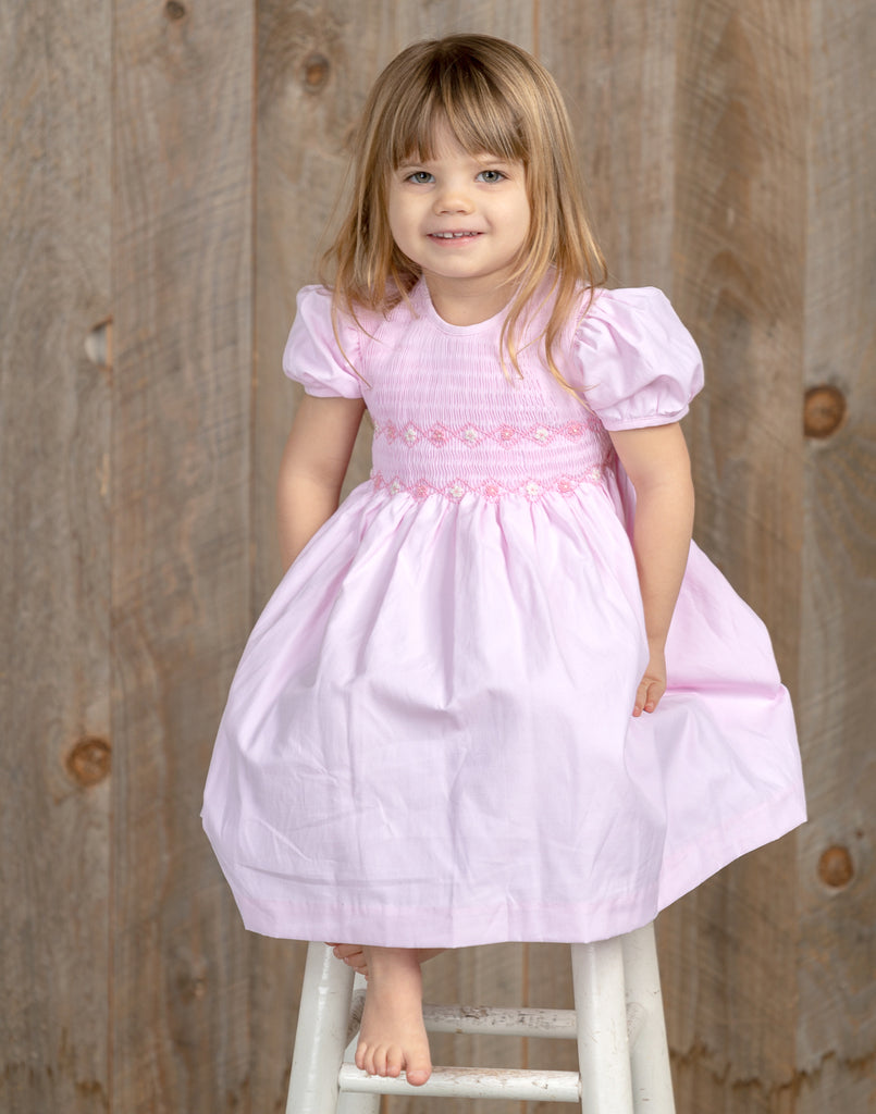 Pretty Pastel Short Sleeve Dress-Pink, , Carriage Boutique, Imagewear