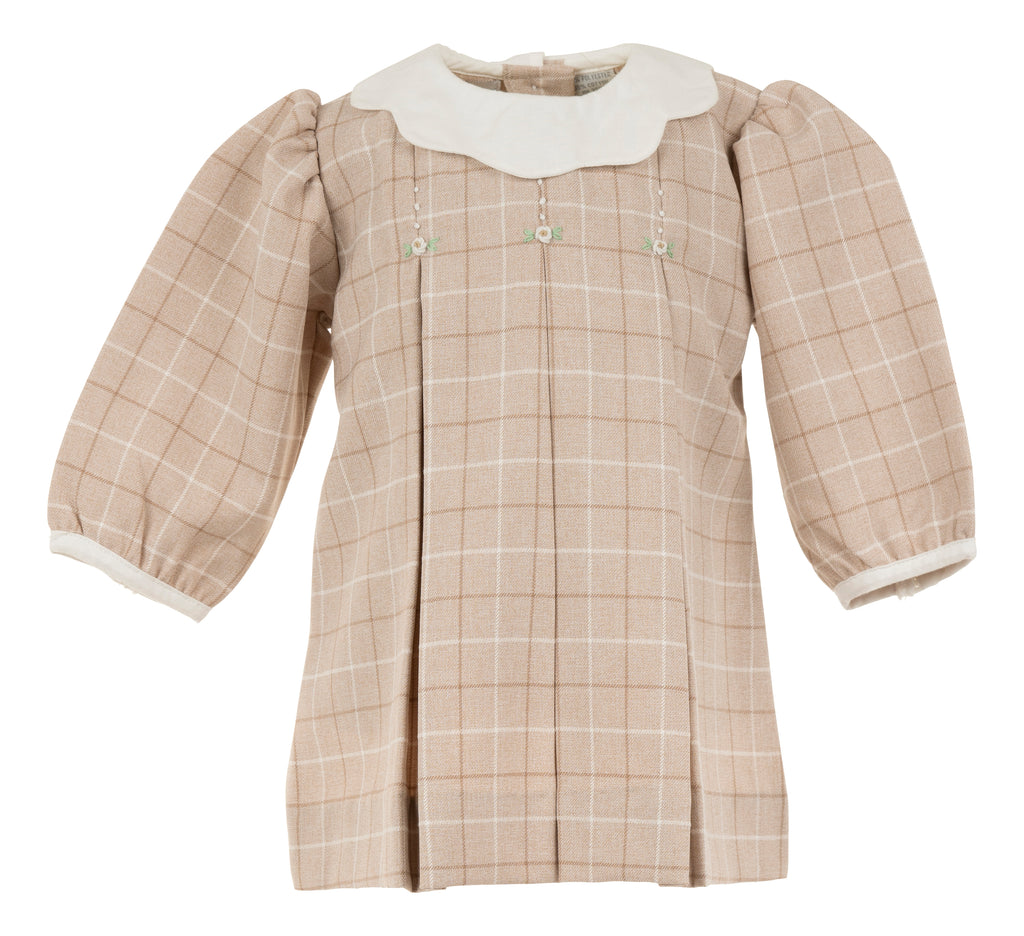 Plaid With Collars  Long Sleeve Dress-Tan, , Carriage Boutique, Imagewear