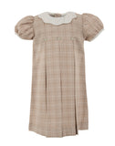 Plaid With Collars  Short Sleeve Dress-Tan, , Carriage Boutique, Imagewear
