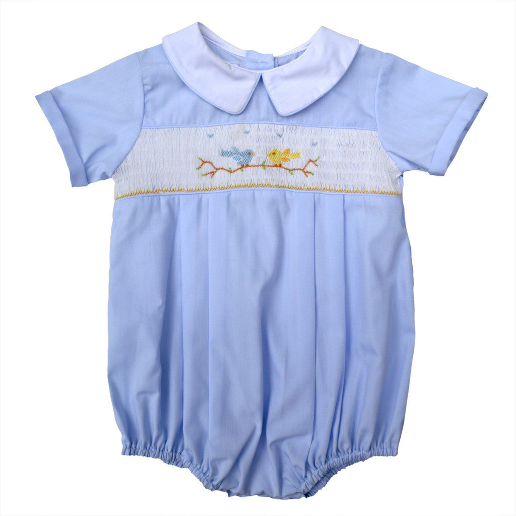 Baby Boys Hand Smocked Creeper - Blue Birds on Tree, , Carriage Boutique, Imagewear