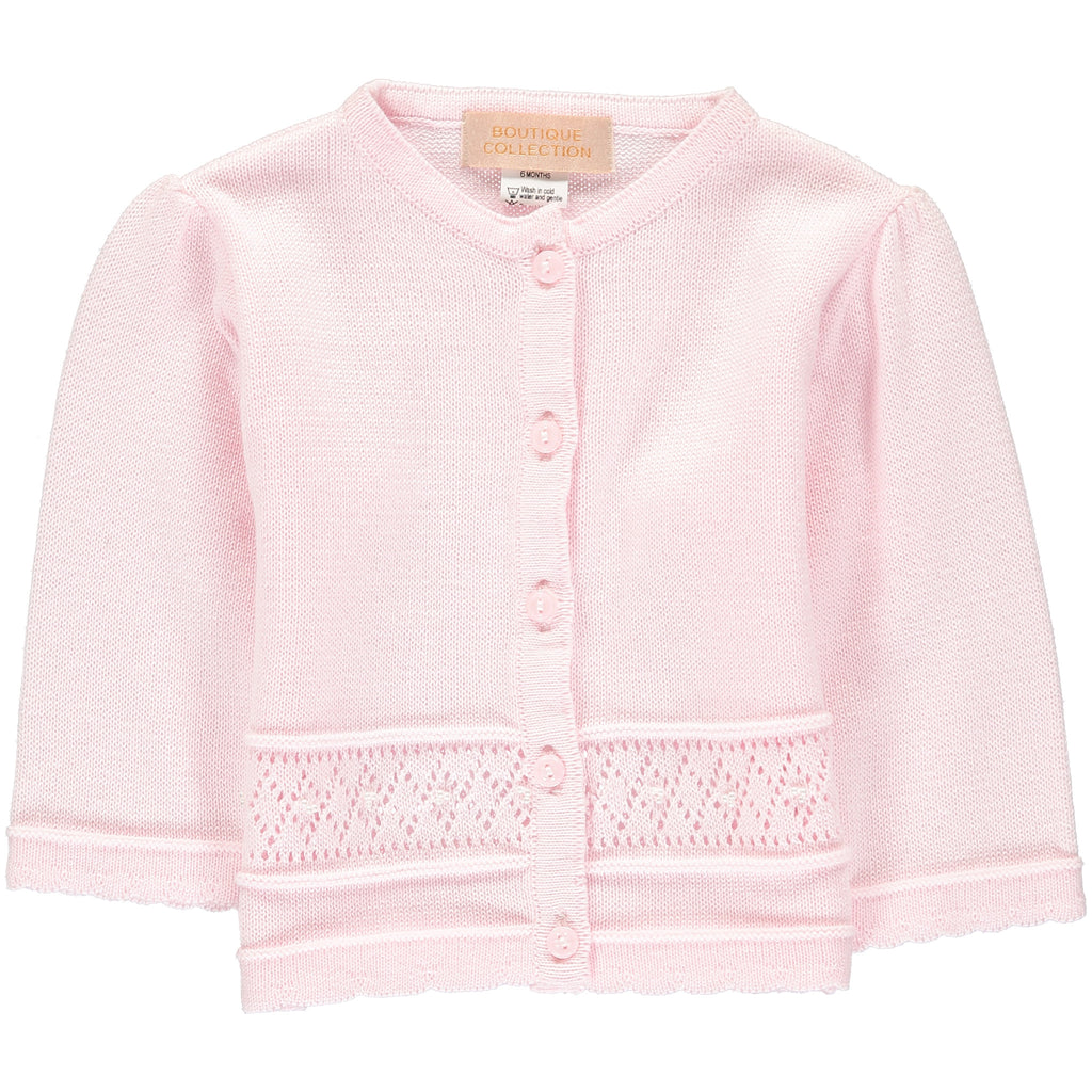 Girls Sweaters Pointelle Pink, , Carriage Boutique, Imagewear