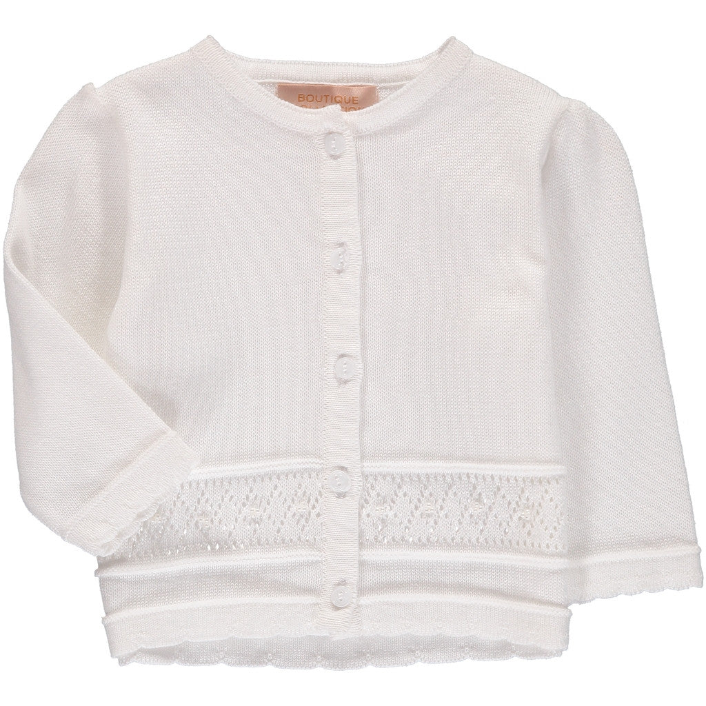 Girls Sweaters Pointelle White, , Carriage Boutique, Imagewear
