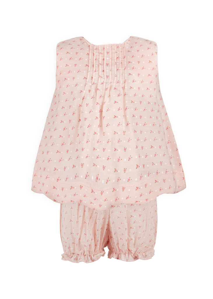 Mini Floral Dots Diaper Set - Pink, , Carriage Boutique, Imagewear