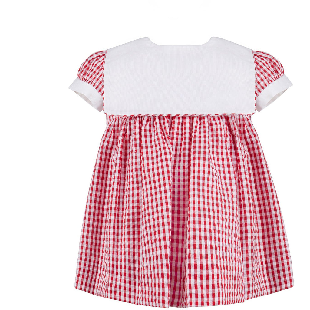Monogram Check Dress - Red - Newborn & Infant
