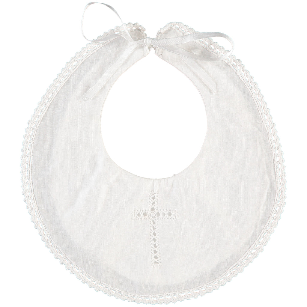 Christening/Baptism Bib with Cross and Satin Ribbon - Onesize, , Carriage Boutique, Imagewear