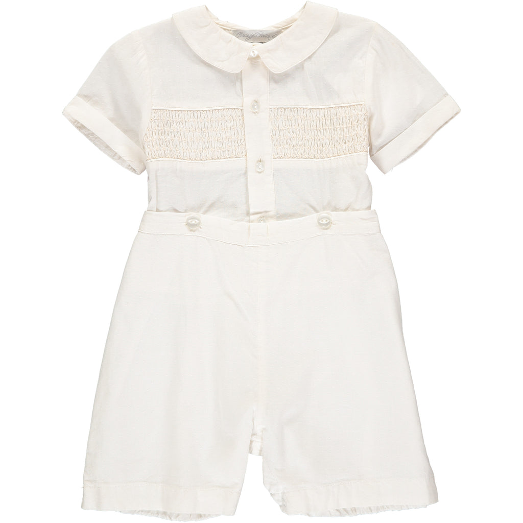 Boys Hand Smocked Baptism Bobbie Suit - Ivory, , Carriage Boutique, Imagewear