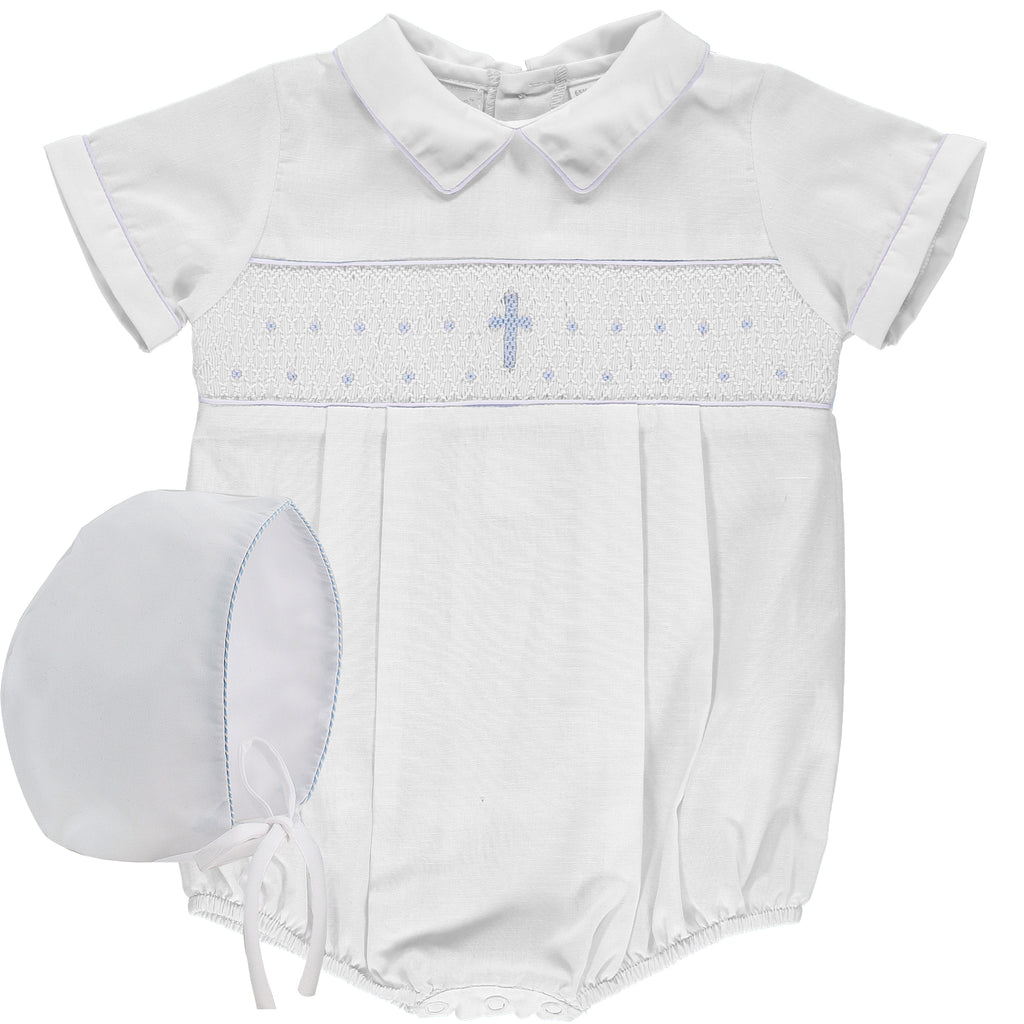 Baby Boys Hand Smocked Cross White Creeper, , Carriage Boutique, Imagewear