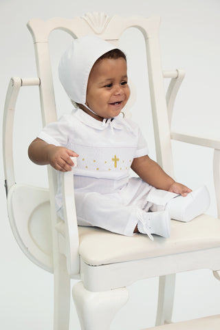 Baby Boys Hand Smocked Blue Cross Creeper - White Collar with a Blue Embroidered Cross