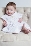 Baby Girls Hand Smocked Gold Cross Bishop Dress with Bonnet - White, , Carriage Boutique, Imagewear