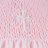Baby Girls Hand Smocked Pearl Cross Bishop Dress with Bonnet - Pink, , Carriage Boutique, Imagewear