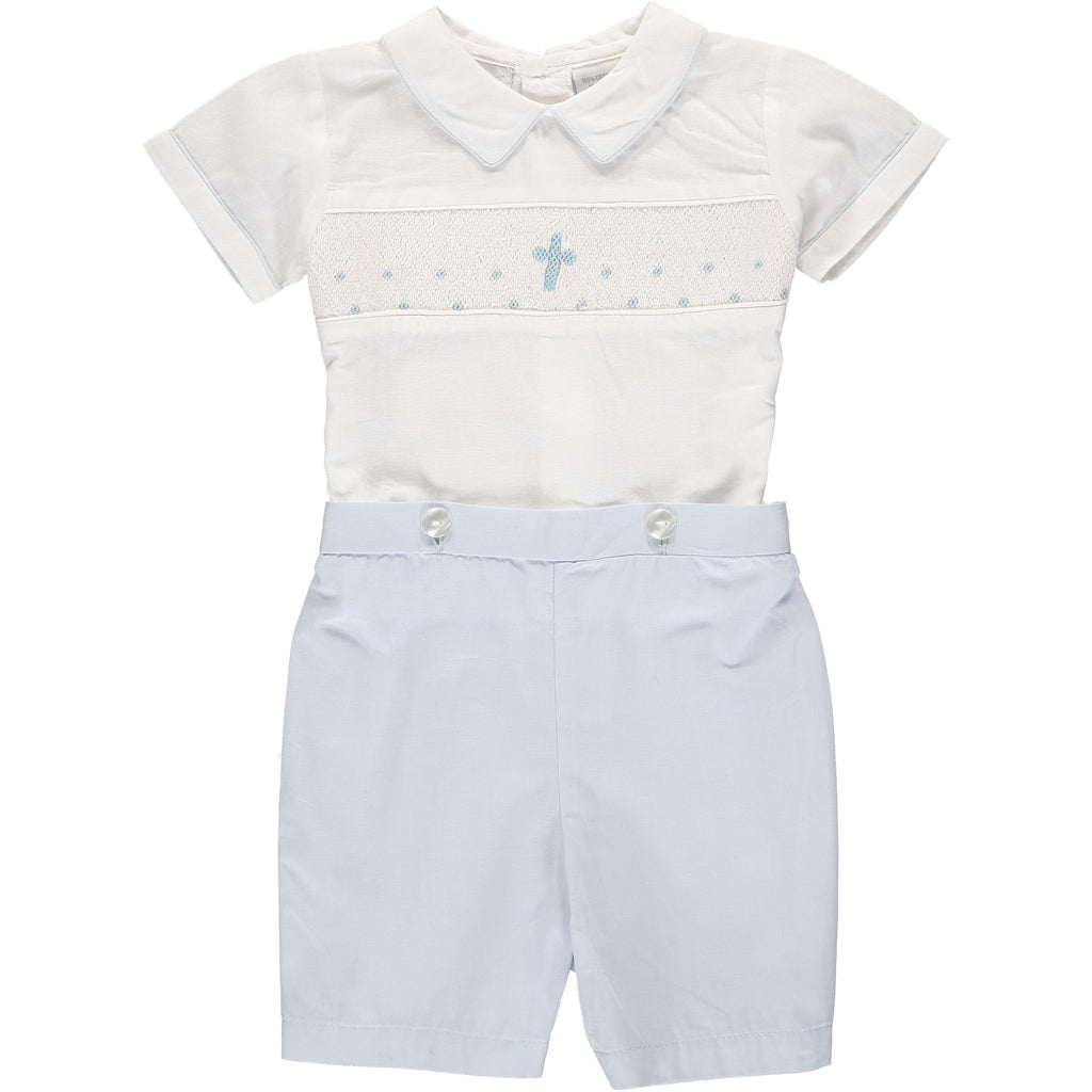 Baby Boys Hand Smocked Blue Cross Bobbie Suit - White/Blue, , Carriage Boutique, Imagewear
