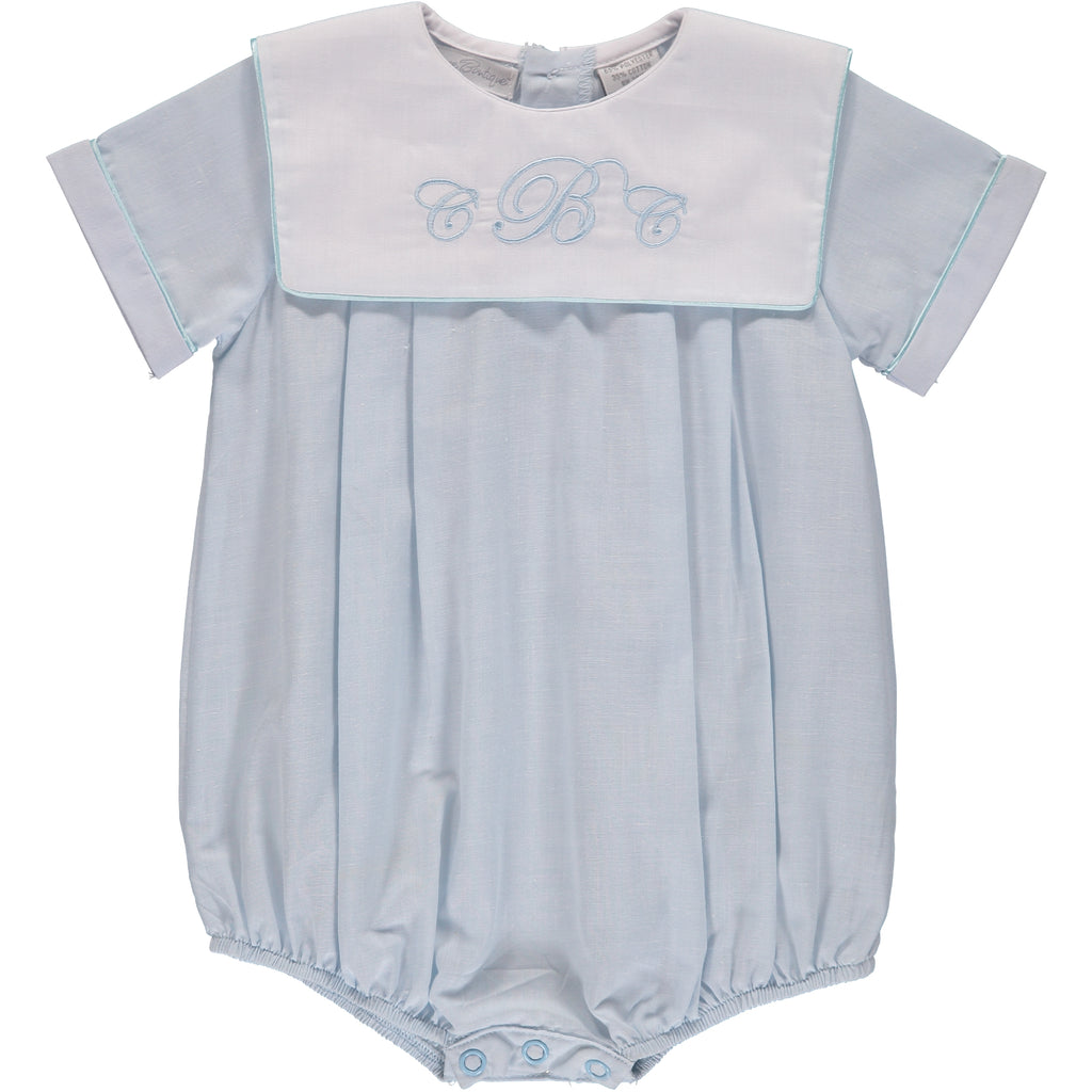 Baby Boy Monogrammable Blue Creeper, , Carriage Boutique, Imagewear