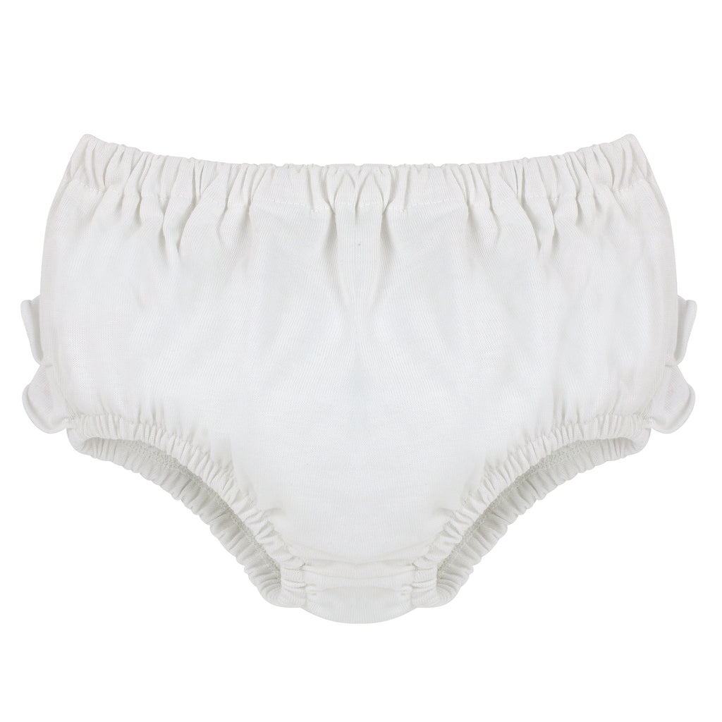 Knitted Panty Diaper Covers - White Bloomers with Ruffles