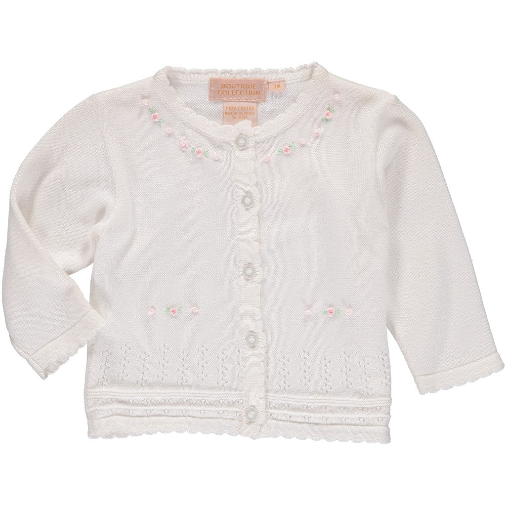 Girls Sweaters Pointelle Flowers, , Carriage Boutique, Imagewear