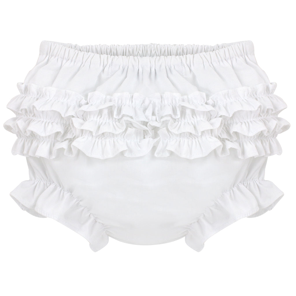 Ruffle Panty Diaper Covers - White Classic Bloomers, , Carriage Boutique, Imagewear