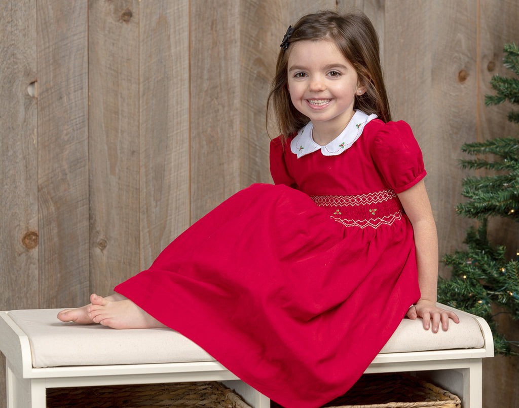 Red Mistletoe Short Sleeve Dress, , Carriage Boutique, Imagewear