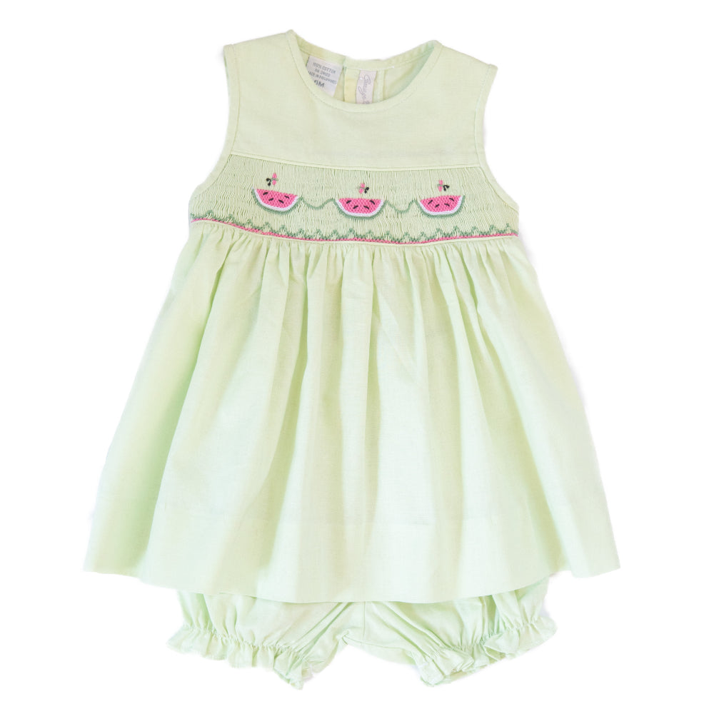 Watermelon Sleeveless Dress with Bloomers - Green - Newborn & Infant