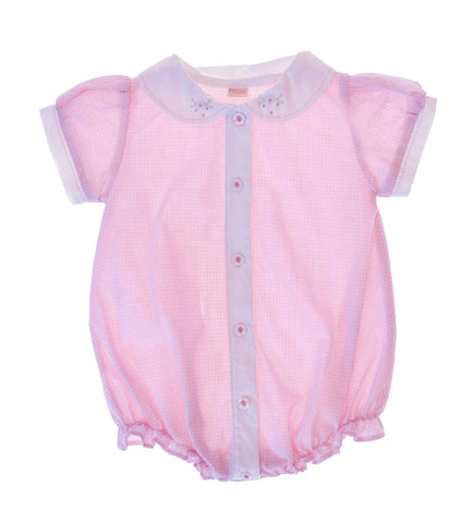 Baby Girls Hand Smocked Bubble - Pink Giraffe