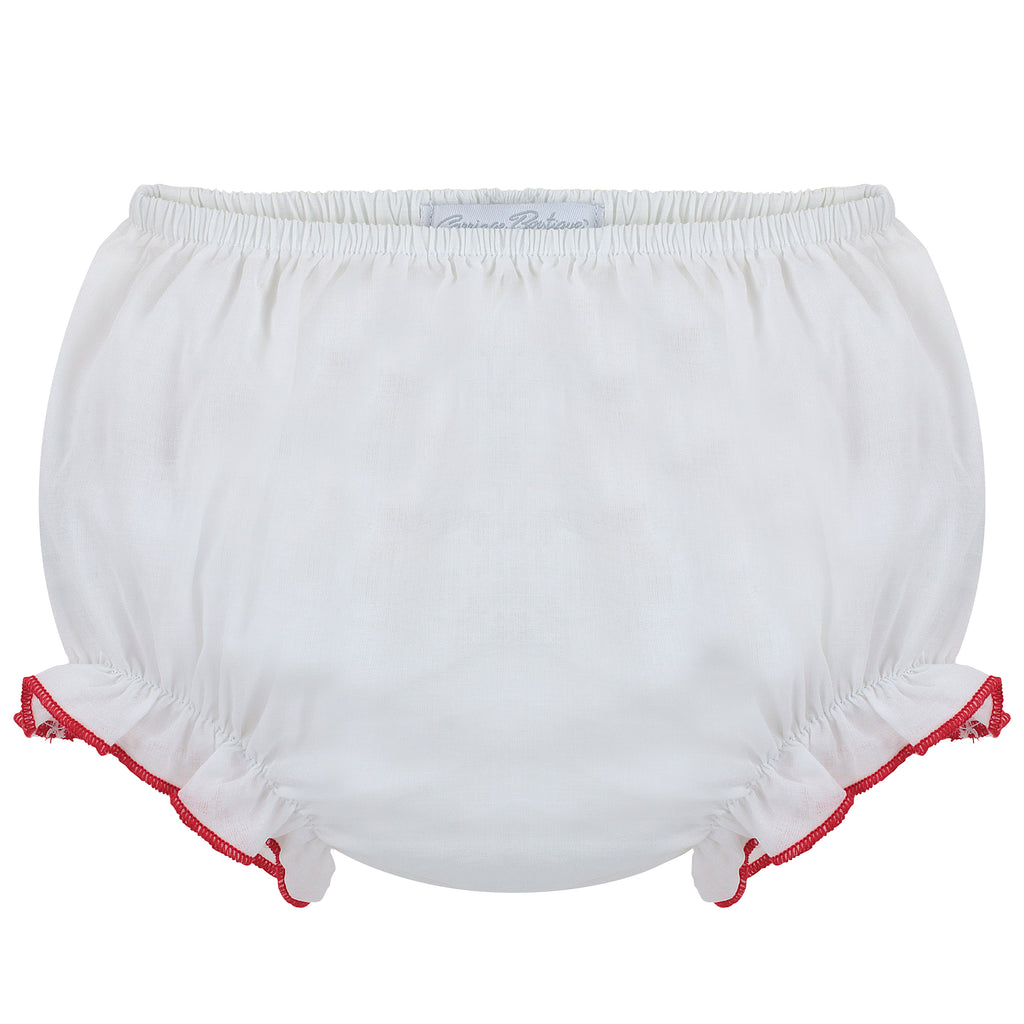 Ruffle Panty Diaper Covers - Red Trim, , Carriage Boutique, Imagewear
