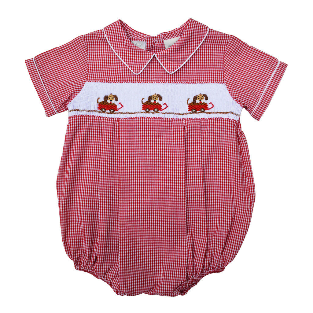 Baby Boys Hand Smocked Creeper - Red Dogs in Wagon, , Carriage Boutique, Imagewear