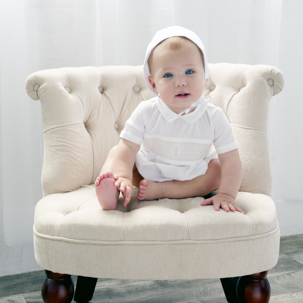 Baby Boys Babtism Smocked Creeper, , Carriage Boutique, Imagewear