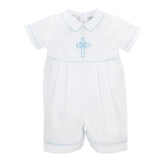 Baby Boy Baptism Embroidered Shortall, , Carriage Boutique, Imagewear