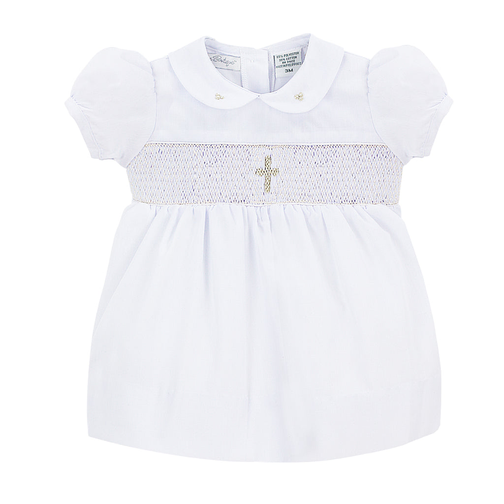 Baby Girl Babtism Smocked Dress + Bonnet, , Carriage Boutique, Imagewear