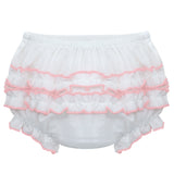 Ruffle Panty Diaper  Cover - Pink Trim, , Carriage Boutique, Imagewear