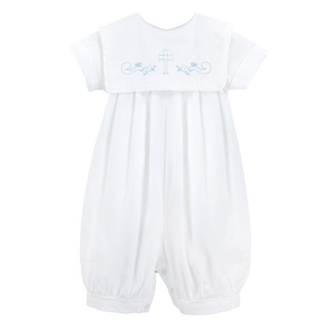 Baby Boys Hand Smocked Blue Cross Bobbie Suit - White/Blue