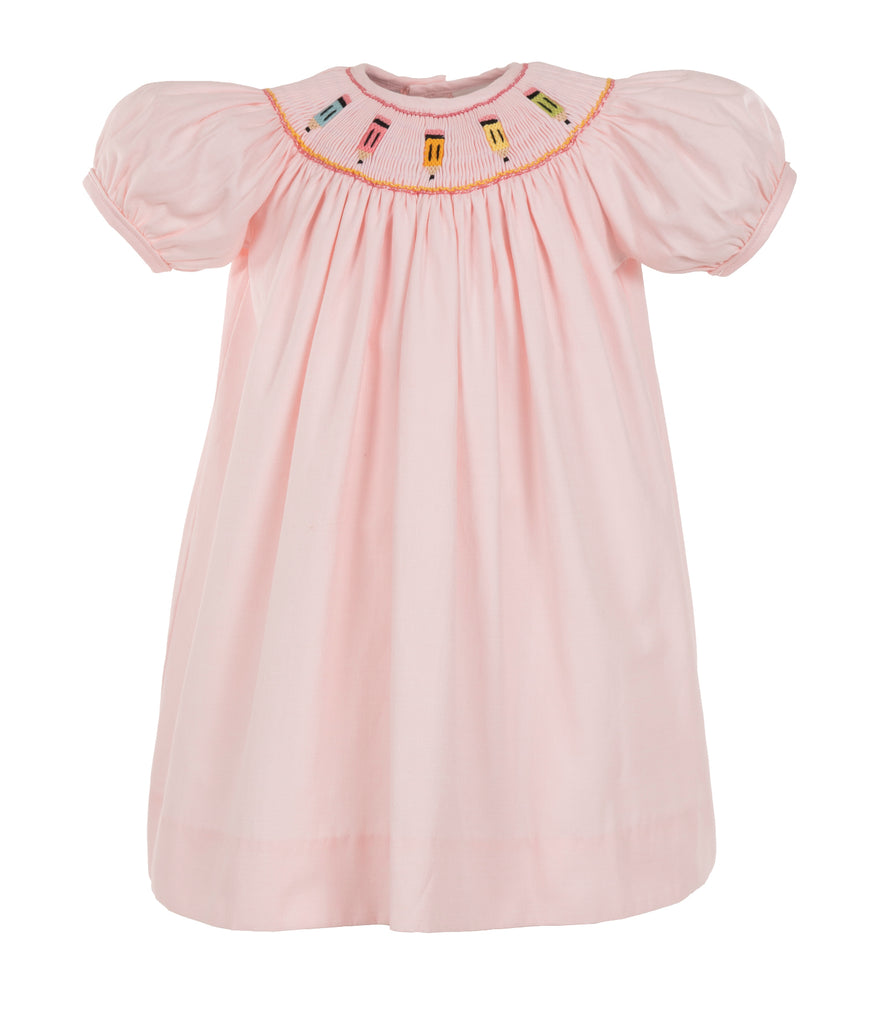 PENCILS S/S BISHOP DRESS- Pink, , Carriage Boutique, Imagewear