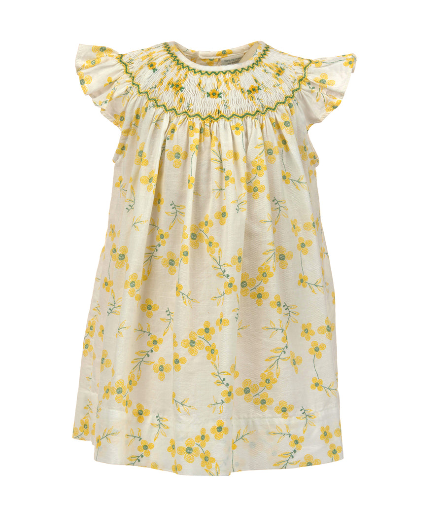 Dancing Daisies Bishop Dress-Yellow, , Carriage Boutique, Imagewear