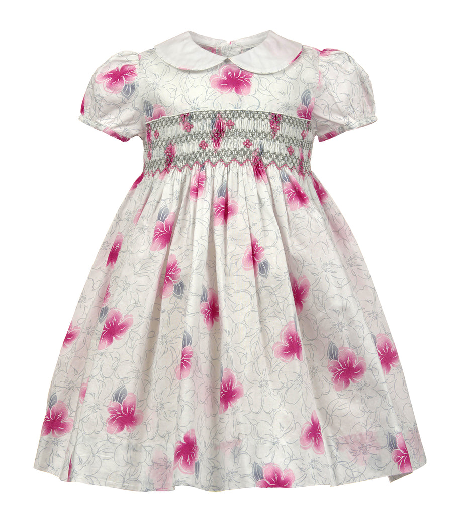 Fuschia Flowers Yoke Dress, , Carriage Boutique, Imagewear