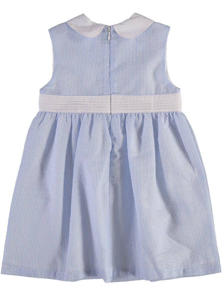 Monogram Seersucker Yoke Dress-Blue