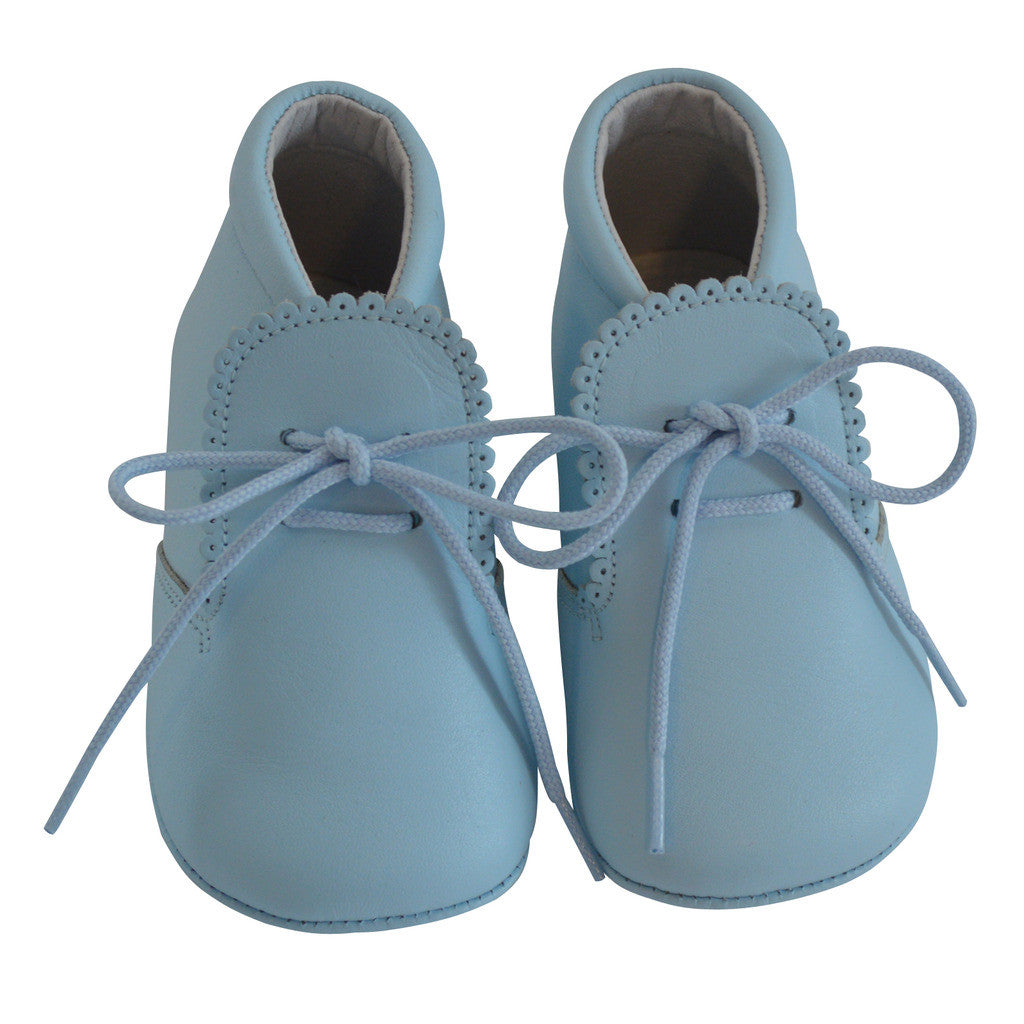 Leather Crib Shoes Tie Front-Blue, , Carriage Boutique, Imagewear
