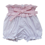 Woven Panty Diaper Covers - White Bloomers with Pink Bo, , Carriage Boutique, Imagewear