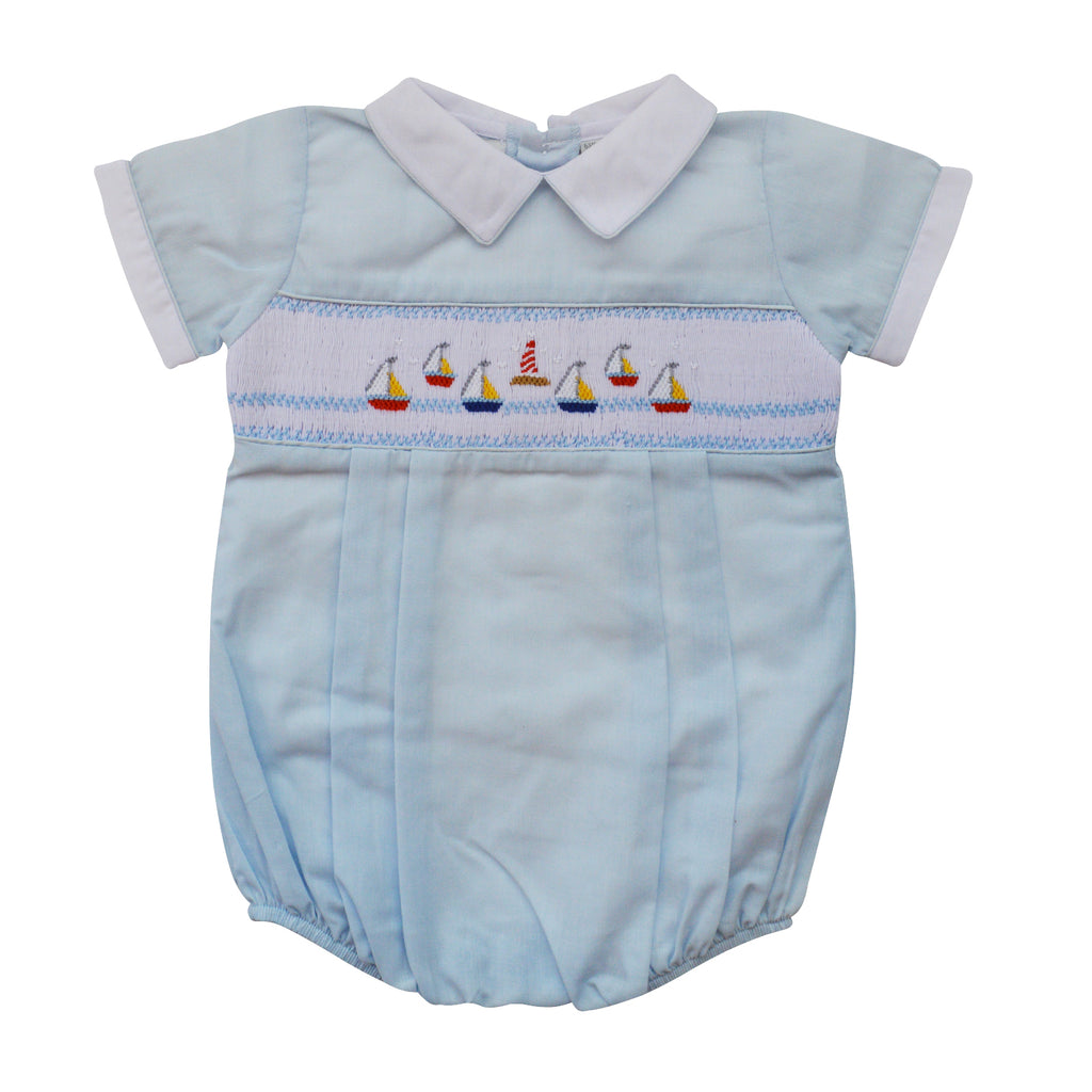 Baby Boys Mini Sail Boat Blue Creeper, , Carriage Boutique, Imagewear