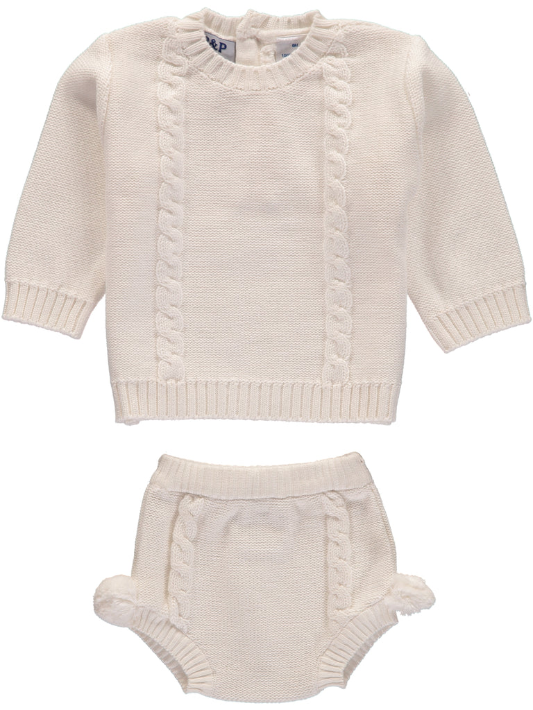 Cream PomPom Sweater + Diaper Cover, , Piccino Piccina, Imagewear