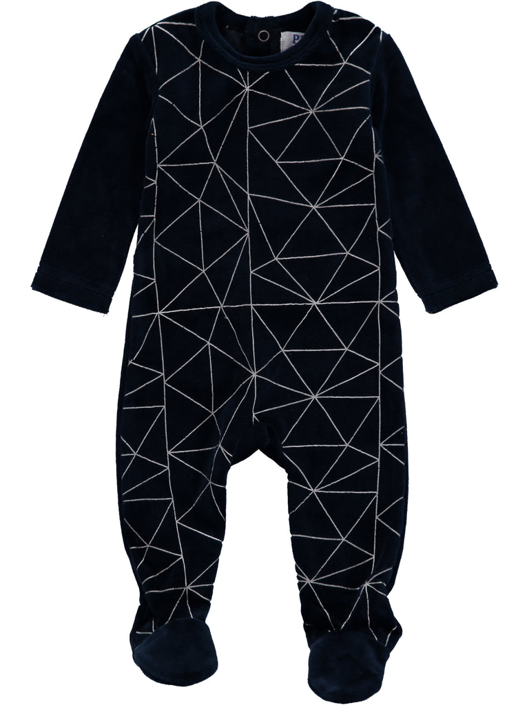 Navy Abstract Lines Footsie, , Piccino Piccina, Imagewear
