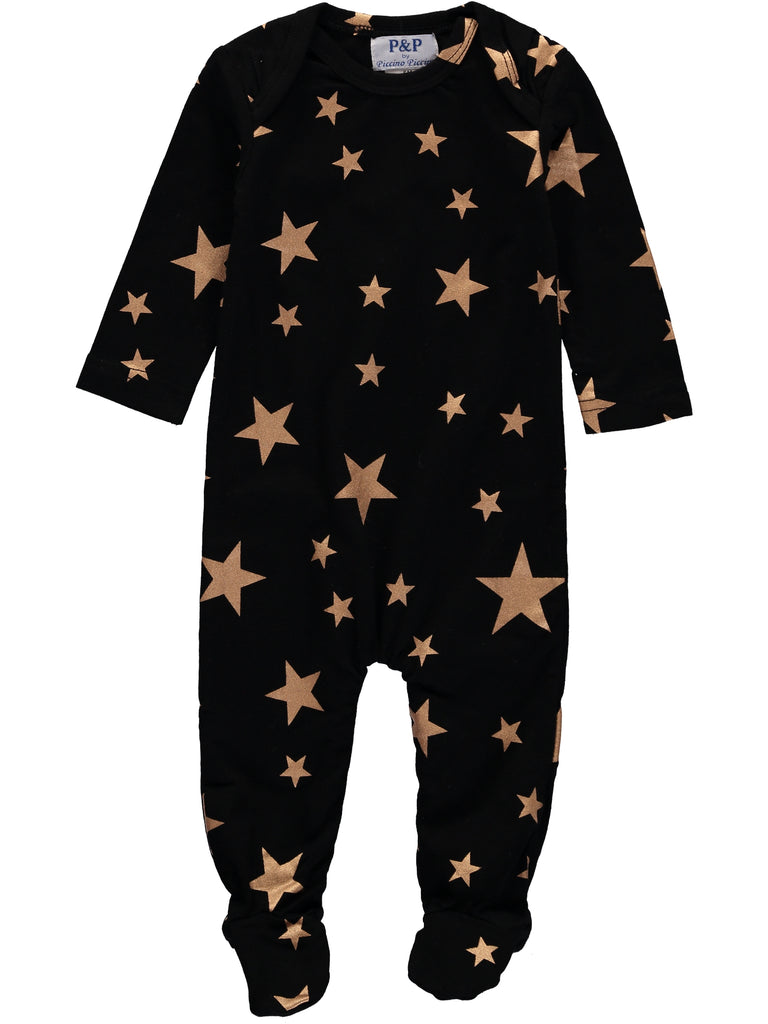 Black Gold Stars Footsie+ Hat, , Piccino Piccina, Imagewear