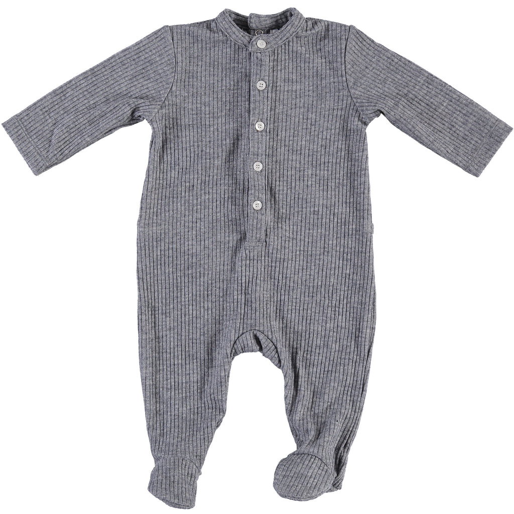 Body Fitted Baby Footsie - Heathered Grey, , P & P, Imagewear