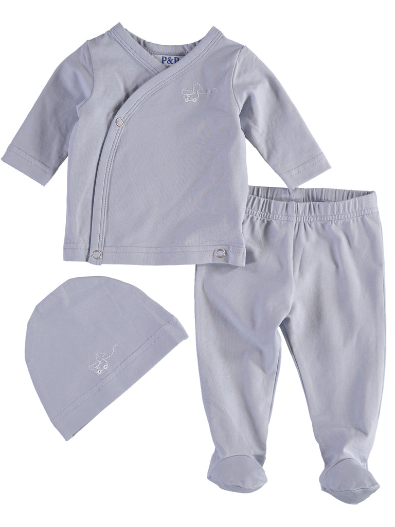 Blue Outline Stitch Layette Set, , PICCINO PICCINA, Imagewear