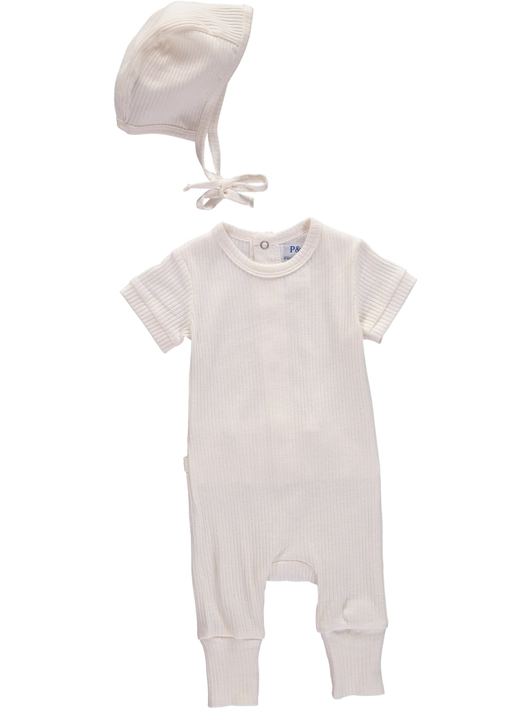 Ribbed Sets Cream Footsie + Hat, , PICCINO PICCINA, Imagewear