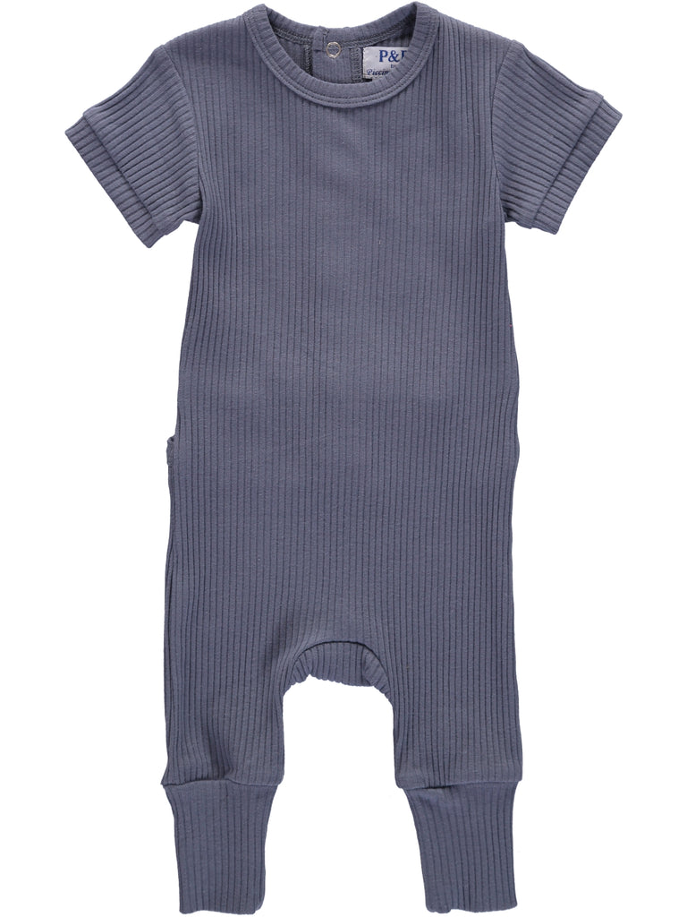 Ribbed Sets Blue Footsie + Hat, , PICCINO PICCINA, Imagewear